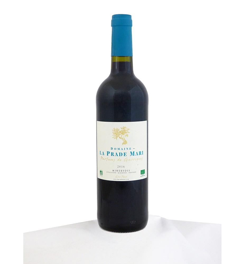 Délicat vin rouge biologique AOC Minervois.